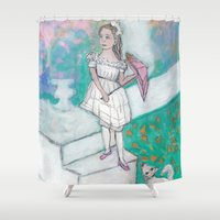 emma watson Shower Curtains featuring Emma by Beth Gilmore