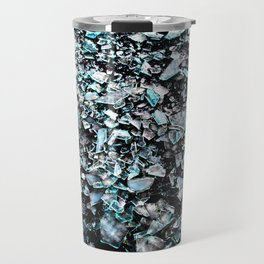 cyan black broken glas Travel Mug