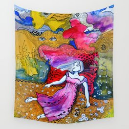 Girl in colorful  Wall Tapestry