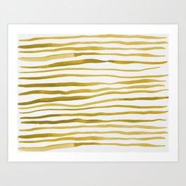 Irregular watercolor lines - yellow Art Print