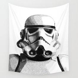 Stormtrooper Hand Drawn Dotwork - StarWars Pointillism Artwork Wall Tapestry
