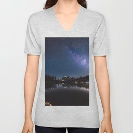Summer Stars - Galaxy Mountain Reflection - Nature Photography Unisex V-Neck