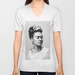 Portrait of Frida Kahlo Unisex V-Neck