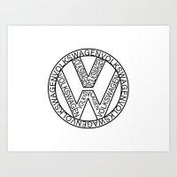 volkswagen Art Prints featuring VOLKSWAGEN by eARTh