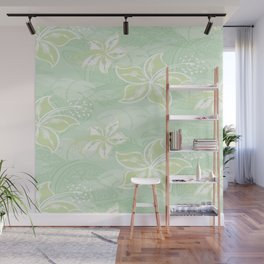 Green Watercolor Hibiscus Jungle Print Wall Mural