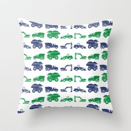 Blue and Green Construction Vehicles Throw Pillow
