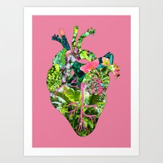 Botanical Heart Pink Art Print
