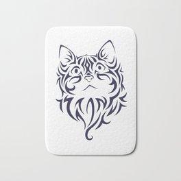 Front Facing Cat Kitten Face Stencil Bath Mat