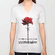 Barbed wire red rose Unisex V-Neck