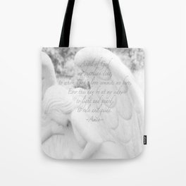 Guardian Angel Prayer | White Angel | Religious Art | Baptism | First Communion Tote Bag