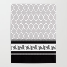 Modern Moroccan Striped Pattern, Black, Grey, White Poster