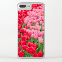 Flower beds of red and pink tulips Clear iPhone Case