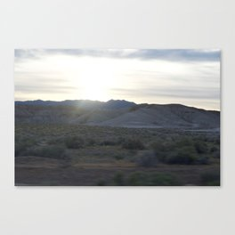On The Road: Rare Lush Greenery At Sundown In Death Valley Spring Bloom 2016 Canvas Print
