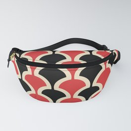Classic Fan or Scallop Pattern 439 Black and Red Fanny Pack
