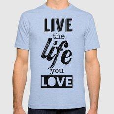 Live Life Love Mens Fitted Tee MEDIUM Tri-Blue