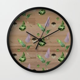 Floral Pattern on Wooden Table Wall Clock