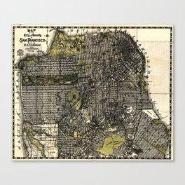 Vintage Map of San Francisco, California Canvas Print