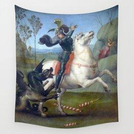 """Raffaello Sanzio da Urbino """"Saint George and the Dragon"""", 1503 - 1505 Wall Tapestry"""