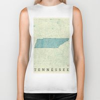 tennessee Biker Tanks featuring Tennessee State Map Blue Vintage by City Art Posters