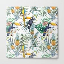 Tropical Pattern Toucans Parrots Pineapples Metal Print