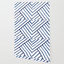 Watercolor lines pattern | Navy blue Wallpaper