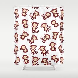 pattern with funny brown monkey boys and girls on white background. Vector illustration Shower Curtain