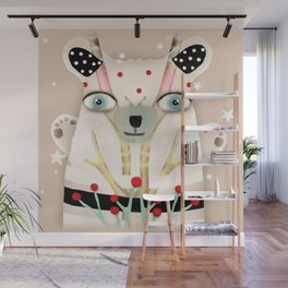 Bear 2018 polka Dots North Pole Snowing Stars Beige Cream Wall Mural