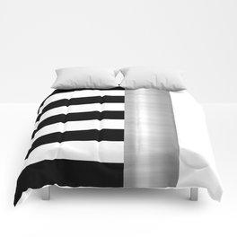 Black & White Stripes & Silver Metallic Accent Comforters