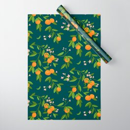 Citrus Tree - Navy Wrapping Paper