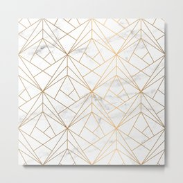 Marble, Geometry and Gold Metal Print