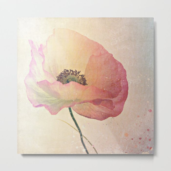Inspired by the light -- Pink Poppy Flower Metal Print