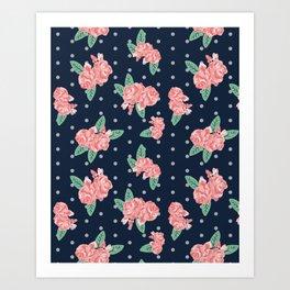 Brooklin - Navy dots floral bouquet minimal boho abstract flowers Art Print