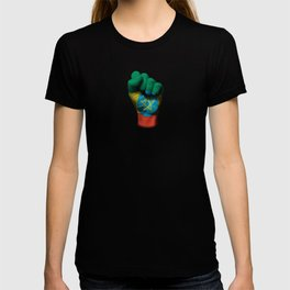 Ethiopian Flag on a Raised Clenched Fist T-shirt