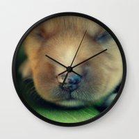 puppy Wall Clocks featuring Puppy by Luiza Lazar