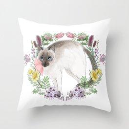 Pixie the Chocolate Siamese Cat Throw Pillow