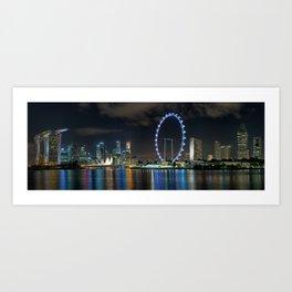 Singapore By Night Art Print