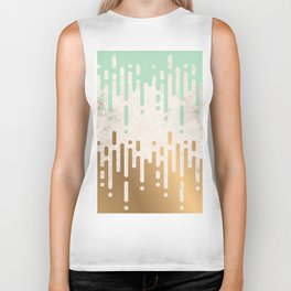 Marble and Geometric Diamond Drips, in Gold and Mint Biker Tank
