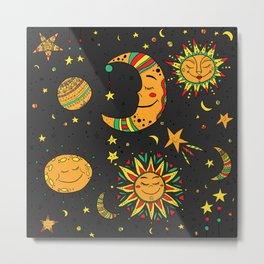 Moon, sun and stars pattern Metal Print