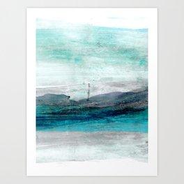 Turquoise Blue Green Abstract Coastal Landscape Art Print