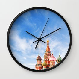 Moscow famous Saint Basil cathedral, Russia symbol Wall Clock