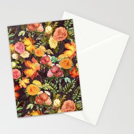 Autumn Flowers and Leaves Stationery Cards