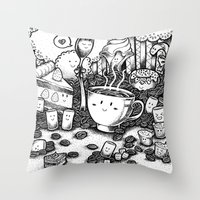coffe Throw Pillows featuring Smile coffe by Kisava NiCh