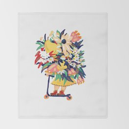 Floral Scooter Babe Throw Blanket