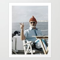the life aquatic Art Prints featuring LIFE AQUATIC by VAGABOND