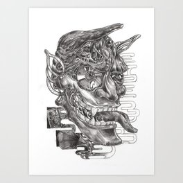Sketching of hannya  mask Art Print