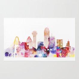 Watercolor Dallas skyline design Rug