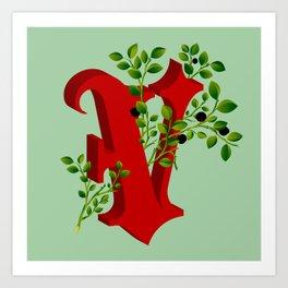 Letter 'V' is for Vaccinium Art Print