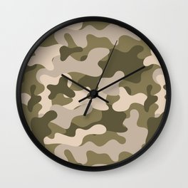 Green Gray Camouflage Pattern Wall Clock