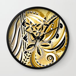 Polynesian - Hawaiin - Samoan Ochre Floral Tribal Wall Clock