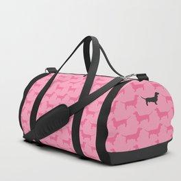 Pink Dachshunds Pattern Duffle Bag
